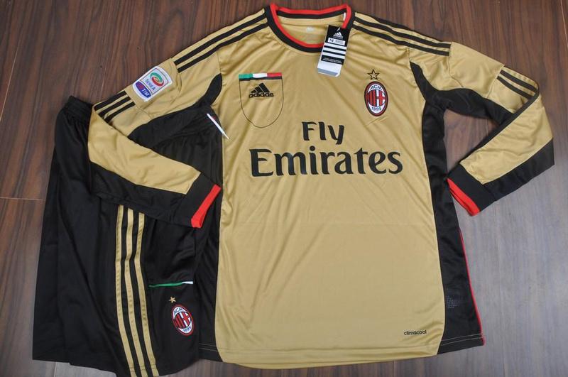 buy popular 68308 a65e2 AC Milan 13/14 LongSleeve 3rd Golden Soccer Jersey Shirt(No ...