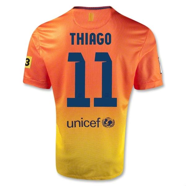 3acd1f4e585 ... Home Kit Shirt Shorts Navy Blue (11 1213 Barcelona 11 Thiago Orange  Away Soccer Jersey Shirt Replica ...