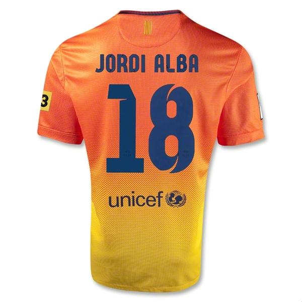 bcc247ed1 12 13 Barcelona  18 Jordi Alba Orange Away Soccer Jersey Shirt Replica
