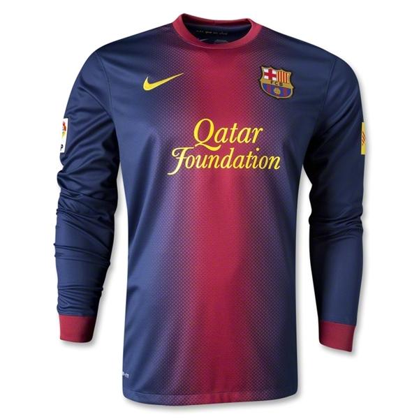 058e52439c4 12 13 Barcelona Home Long Sleeve Soccer Jersey Shirt Replica