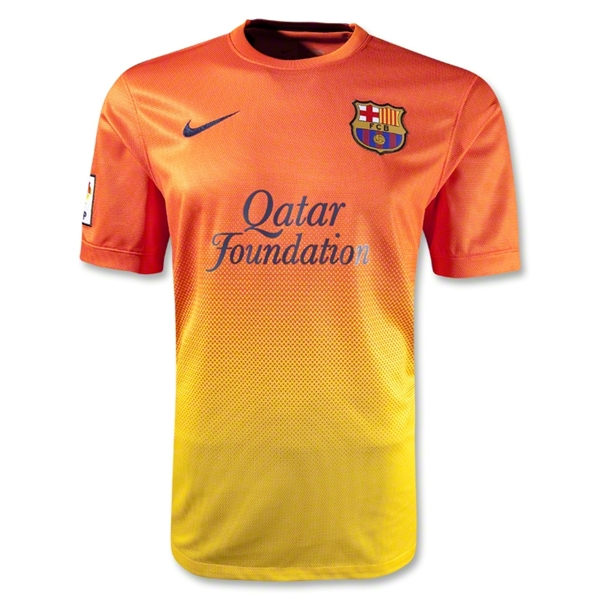 5460dcb1123 12 13 Barcelona Orange Away Soccer Jersey Shirt Replica (shirt + shorts)