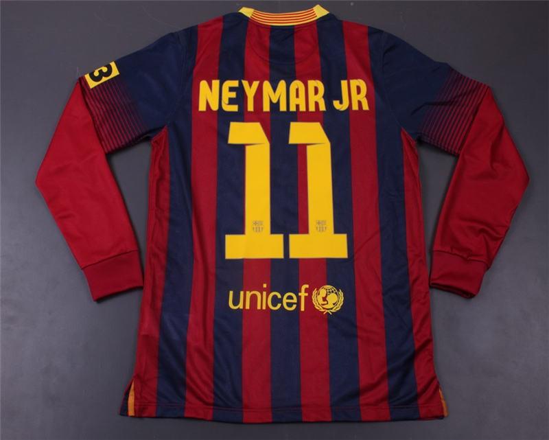 ad991f244 13 14 Barcelona Jersey  11 NEYMAR JR Long Sleeve Home Soccer Jersey Shirt
