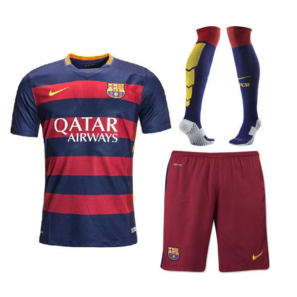 4ab02af64 Barcelona 2015-16 Home Soccer Jersey Whole Kit(Shirt+Short+Socks ...