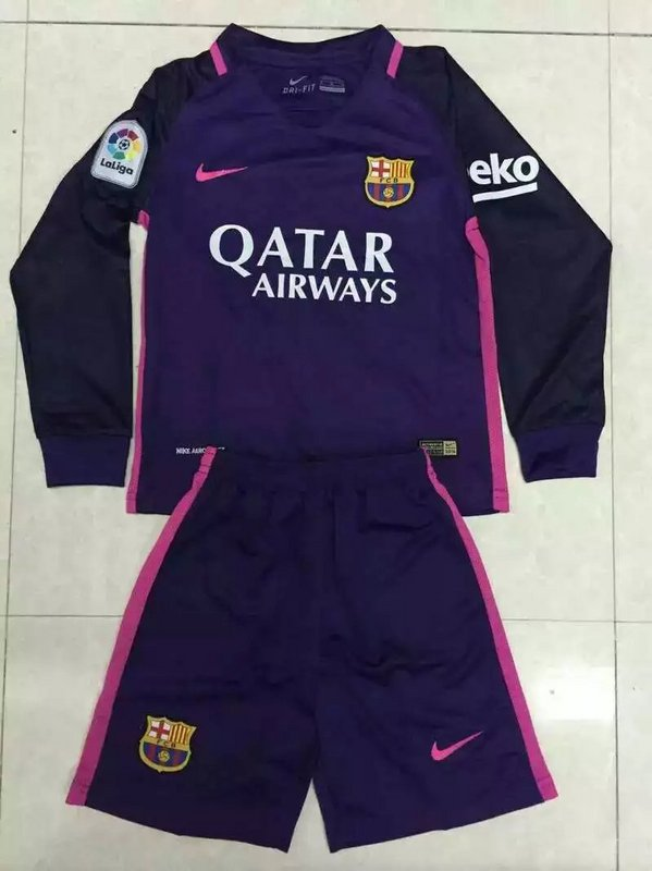 34b23393b ... kids barcelona 16 17 away long sleeve jersey kit(shirt+shorts)