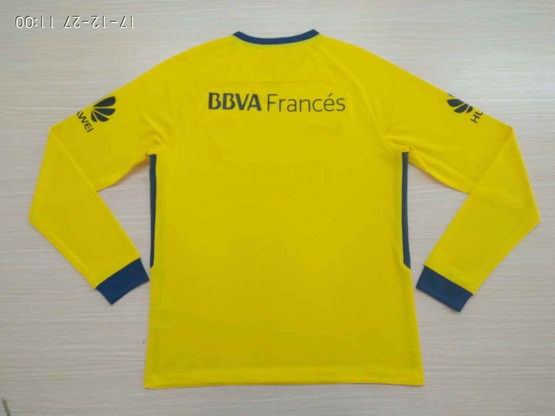 2ce87c77549 Boca Juniors 2017-18 Away Yellow Long Sleeve Soccer Jersey ...