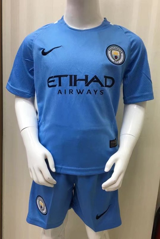 cf9230344 Kids Manchester City 2017-18 Home Blue Soccer Kits(Shirt+Shorts ...