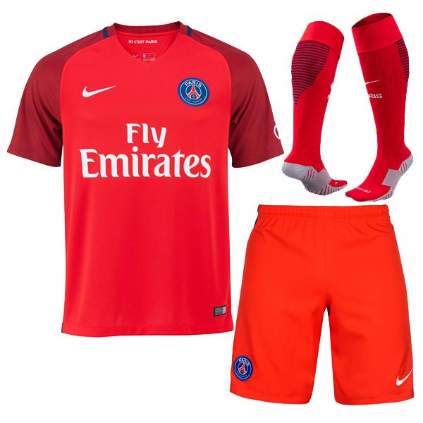 buy popular d6946 8c22e PSG 16-17 Away Red Soccer Jersey Whole Kit(Shirt+Shorts+ ...