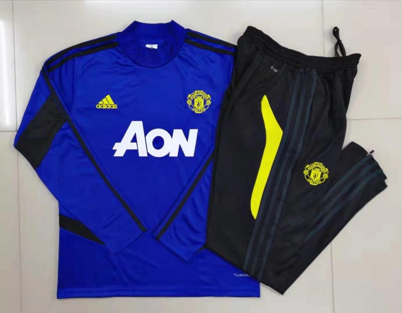 Shop 19 20 Manchester United Black High Neck Collar Training Kit Jacket Trouser Cheap Soccer Jerseys For Sale Gogoalshop